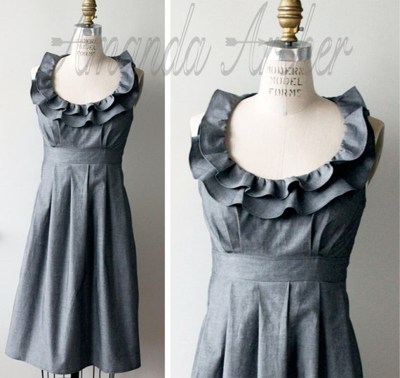 Grey Dress, Bridesmaid, Made to Order, cotton with pockets