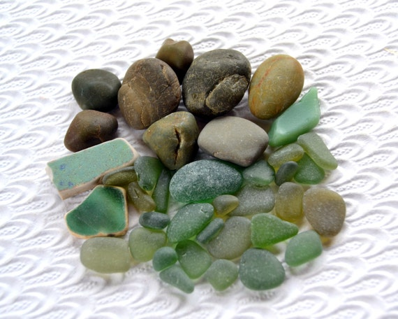 Green Melange Beach Mix Sea Glass, Natural Jade Stones,  Pottery, Jadeite 62B