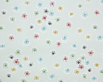1940's Vintage Wallpaper - Bursts of Color Red Blue Yellow and Black Starbursts