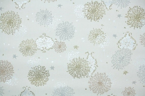 1940's Vintage Wallpaper - Metallic Silver Gold and Copper Snowflakes on White