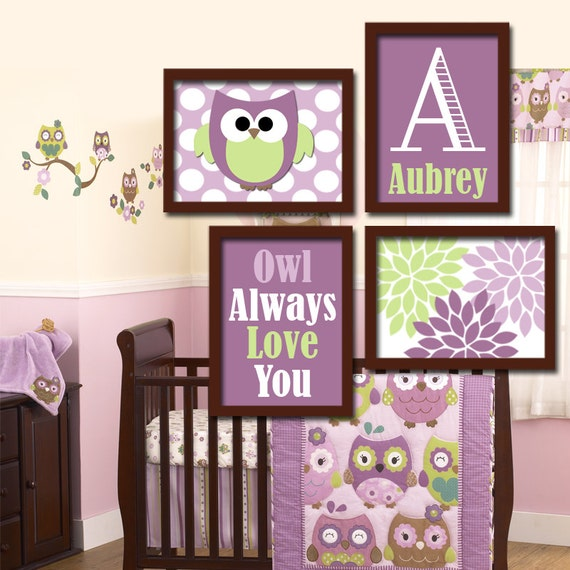 Girl OWL Wall Art Owl Nursery Baby Girl Nursery Wall By TRMdesign