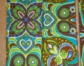2 pc Vera Neumann vintage cotton napkins - Turquoise Brown Paisley 60s 70s