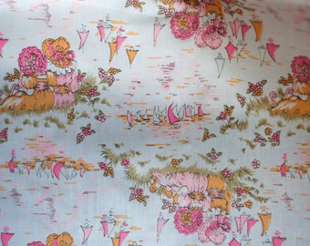 vintage 60s 70s novelty print fabric - girls at pond with sailboats - pink and orange