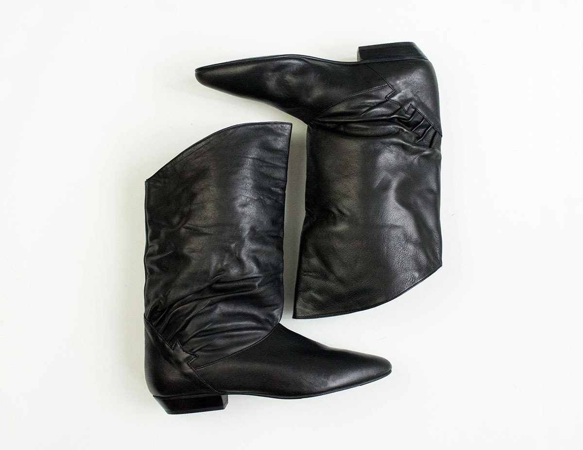 80s black leather slouchy ankle boots new by