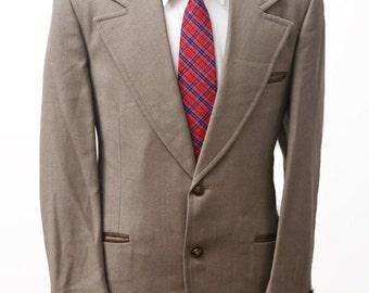 Men's Blazer / Vintage Sport Coat / Brown Western Jacket / Size 42/Medium