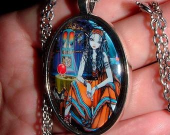 SALE Bohemian Fortune Teller Gypsy Vardo Hippie Remember Me Glass Necklace