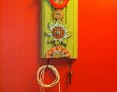 Key Hook, Accessory Hanger, Repurposed Trim Wall Art, Colorful Ceramic Tiles, Pottery, Whimsical, Red Bird, Scandinavian Folk Style Flower