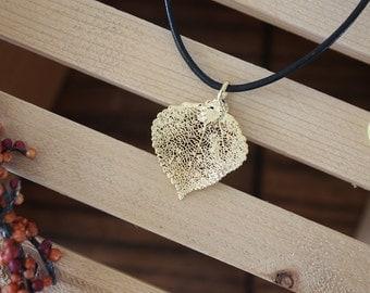 Gold Leaf Necklace, Real Leaf, Leaf Pendant, Real Leaf ,Aspen Leaf, 24kt Gold, 45 L