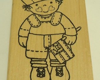 Patriotic Sailor Boy Wood Mounted Rubber Stamp by Azadi Earles