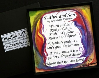 FATHER and SON Original Poetry Words Family Art Inspirational Quote Home Decor Birthday Father's Day Gift Heartful Art by Raphaella Vaisseau