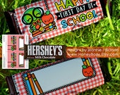 Back to School Happy First Day of School Hershey's 1.55oz Candy Bar Wrapper Non-Editable - Instant Download PDF file