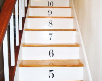 Number Stair Wall Decals - Set of 17 Vinyl Decals with 45 Color Options -Count Numbers Stairway Decals For Stair Risers