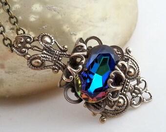 Gypsy Blue filigree necklace, brass filigree necklace, blue volcano, sapphire vitrail glass pendant necklace, Art Nouveau, Victorian fantasy