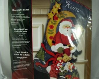 Bucilla Felt Christmas Stocking Kit - Moonlight Santa - Unopened - Rare