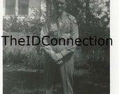 Vintage Black & White Photograph, Military Man, Navy Boy, Strike a Military Pose, Military Branch