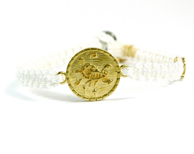 Unisex Brass Health Charm Bracelet and Signature MIZZE Button on White Parachute Chord