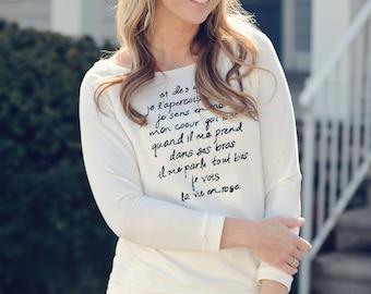 La Vie En Rose Print. French Shirt. Graphic Tees For Women. Typography Tshirt.  s, m, l, xl, xxl - La Vie En Rose Long Sleeve Tee in Ivory