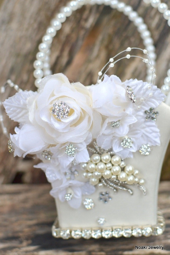 How To Make A Flower Girl Basket With Fabric : Reserved for romanticbliss ivory rose and pearl flower girl