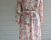 Vintage 1970's/early 1980's Wiggle Dress Very Carrie Bradshaw Pink Floral