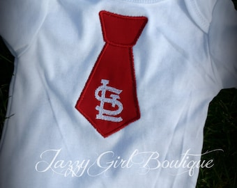 Cardinals Baseball Inspired St Louis Tie Shirt  12mo, 18mo, 2, 3 and 4 Short Sleeve, Onesies also Available