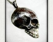 Memento Mori-  Large Skull - Sterling Silver Pendant