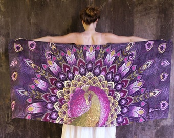 Peacock bird scarf shawl, Hand painted Peacock in Purples, stunning unique and useful, perfect Valentine gifts.