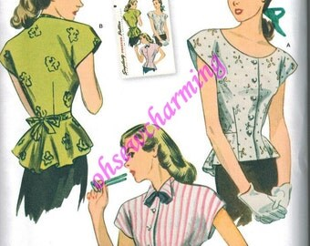 1940s Simplicity 1590 Sewing Pattern Vintage Style Sizes 6-8-10-12-14 Peplum Tunic Blouse Top