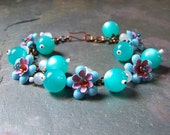 Periwinkle Flower Charm Bracelet | Secret Garden Jewelry of Lavender, Turquoise, Cloud Gray, Purple and Blue