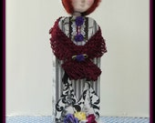 Penelope Handmade Mixed Media Victorian Collage Art Doll Decoration With Paper-Clay Face