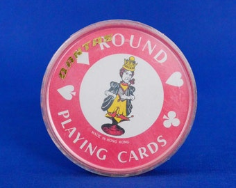 Vintage Qantas Airline Round Playing Cards