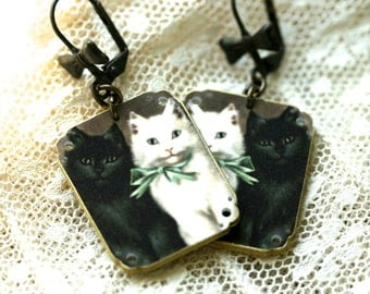 Black and White Kitty Earrings - Cat Earrings - Cat Jewelry - Black Cat - White Cat - Kitty - Cat Lady - Halloween Cat - Shrink Plastic