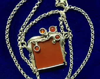 Pinup Poran Signed Designer Sterling Silver and Carnelian Necklace