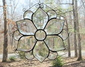 Stained Glass Panel Suncatcher, Clear Beveled with Curled Wire