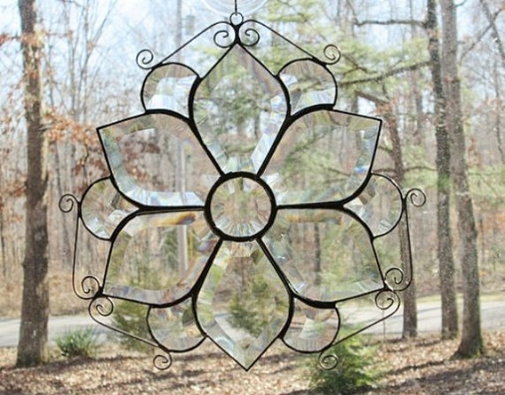 Stained Glass Panel Suncatcher, Clear Beveled with Curled Wire - 11""