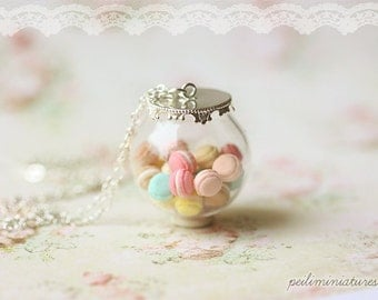 Pastel Macarons Glass Dome Necklace - Macaron Jewelry