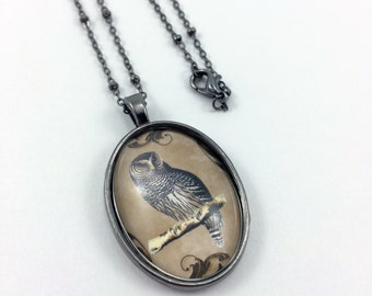 Brown Owl Necklace - Owl Jewelry - Bird Necklace - Bird Jewelry - Glass Tile Necklace - Glass Tile Jewelry - Autumn Jewelry - Fall Jewelry