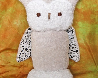 """Owl 10"""" Stuffed Animal, All Natural Materials, Black Dots on White"""
