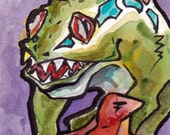 World of Warcraft Murloc - Print of Original Watercolor and Ink Painting by Jen Tracy