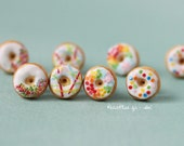 Donuts Earrings - White Butter Frosting with Rainbow Sprinkles - Happy Birthday Studs