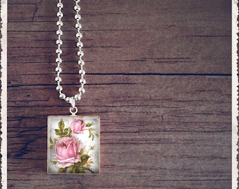 Scrabble Tile Jewelry - Wild Roses - Scrabble Charm Necklace - Customize - Choose Your Style