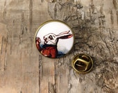 White Rabbit lapel pin - Alice in Wonderland illustration - Bronze round badge - vintage style tack