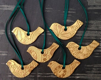6 Christmas Tree Decorations Gold Bird Christmas Ornaments Handmade Ceramic Holiday Decor Evergreen Deep Teal Green or Choose ribbon color