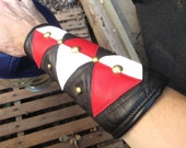 Black/ Red/ White Studded Leather Bracers Armwarmers Unisex for LARP/ Rocker/ SCA/ Everyday Wear
