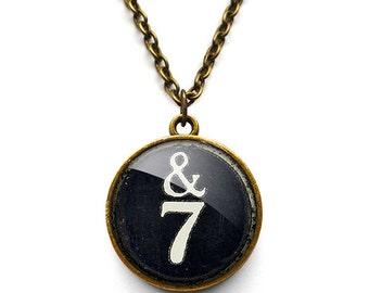 Typewriter Key &7 Necklace (DJ01)
