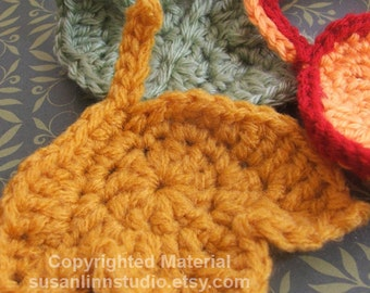 Fast and Easy Autumn Leaves Crochet PATTERN set - CROCHET 3 Leaf Appliques and Garlands - Instant Download