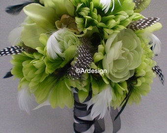LIMELIGHT Wedding Bouquet  With Feathers