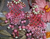 Lilygrace Pink and Green Lace Earrings with Rose Montee and Vintage Glass Beads