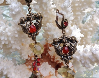 Lilygrace Vintage Red and Yellow Cherub  Earrings with Vintage Rhinestones and Lemon Quartz