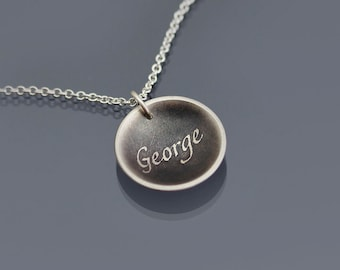 George Necklace - Personalized Etched Sterling Silver Pendant