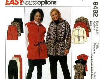 McCall's 9482 Easy Polar Fleece Jacket Vest Pull On Pants Skirt Size 12 14 Uncut Sewing Pattern 1998